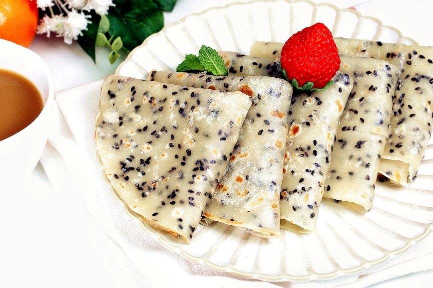 Black Sesame Crepes Simple Breakfast Recipe