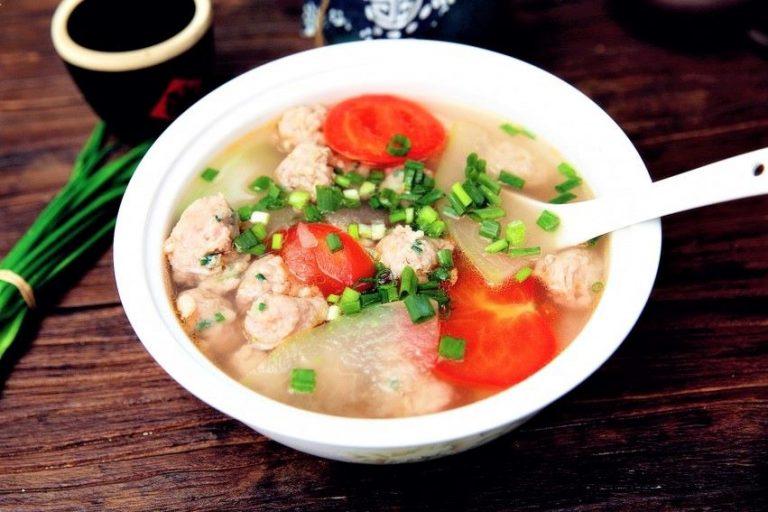 Meatball, Winter Melon and Tomato Soup