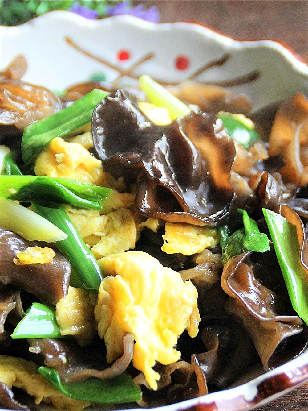 Scrambled Eggs with Black Fungus and green onion recipe for black fungus 2020