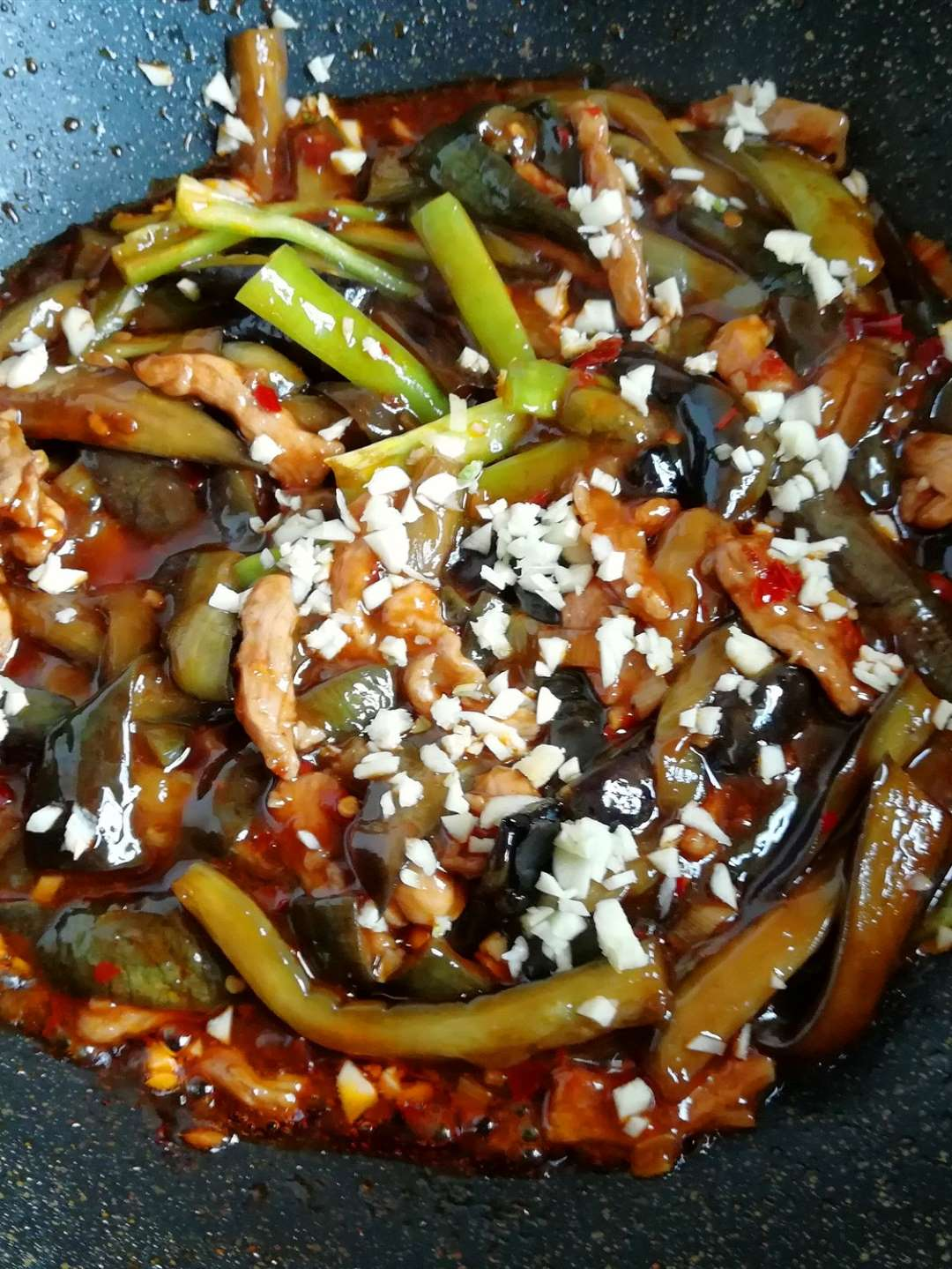 China Food Braised Eggplant Strips with Pork