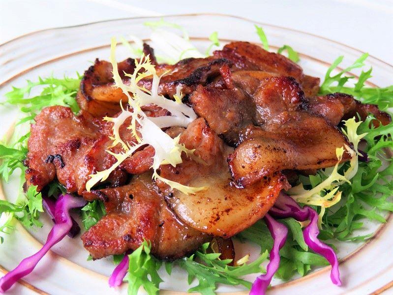 Simple Fried Pork Belly Asian style food, Korean food