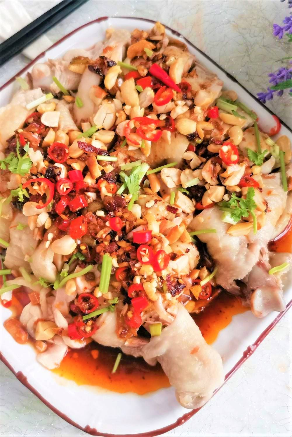 Spicy cold chicken legs chicken drumsticks in chili sauce salad China food Chinese homemade dish recipe