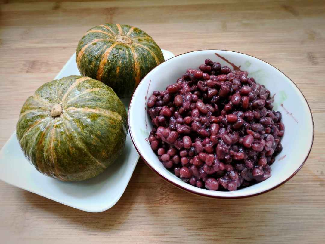 Red bean paste and pumpkin