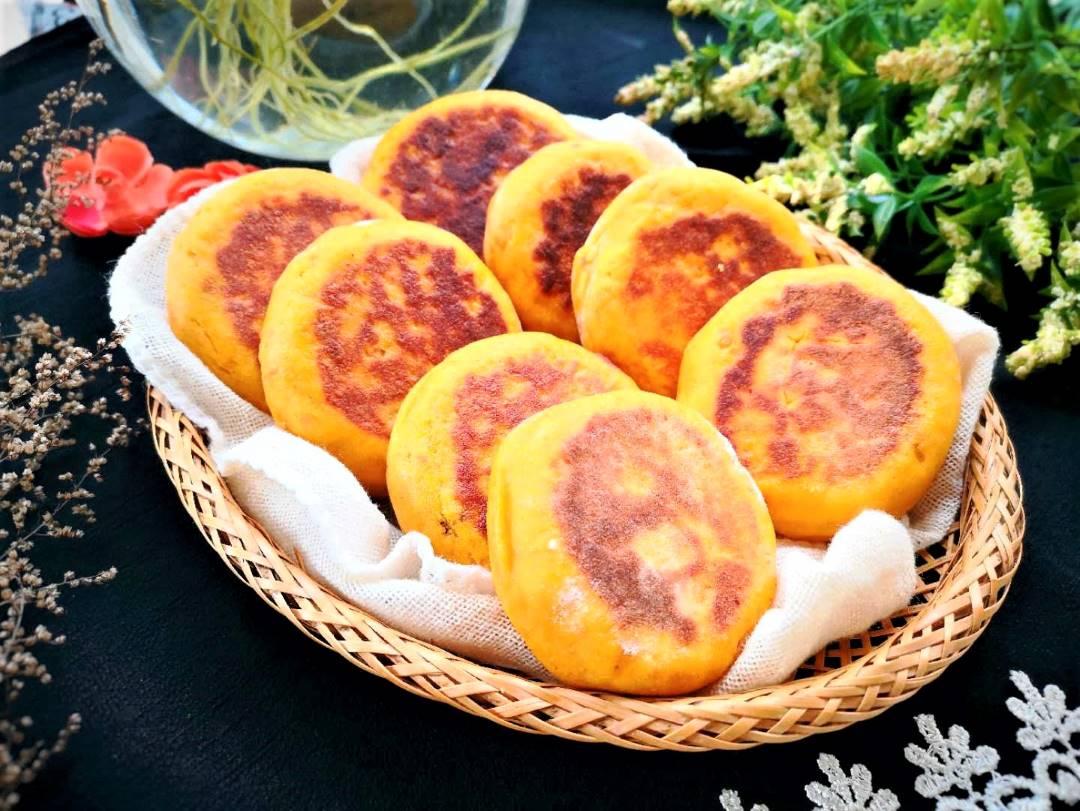 Pumpkin pancake with red bean filling Healthy breakfast