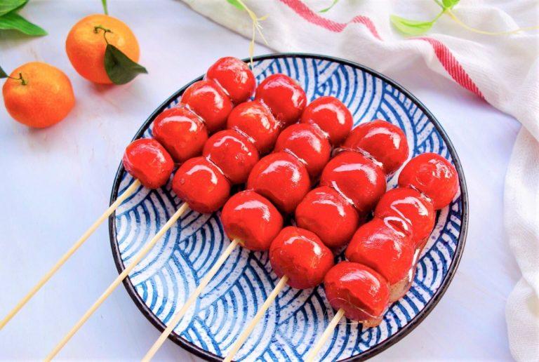 Sugar coated haws on a stick recipe chinese street food tanghulu