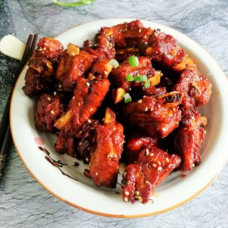 Sweet and sour pork ribs China food Chinese homemade dish recipe