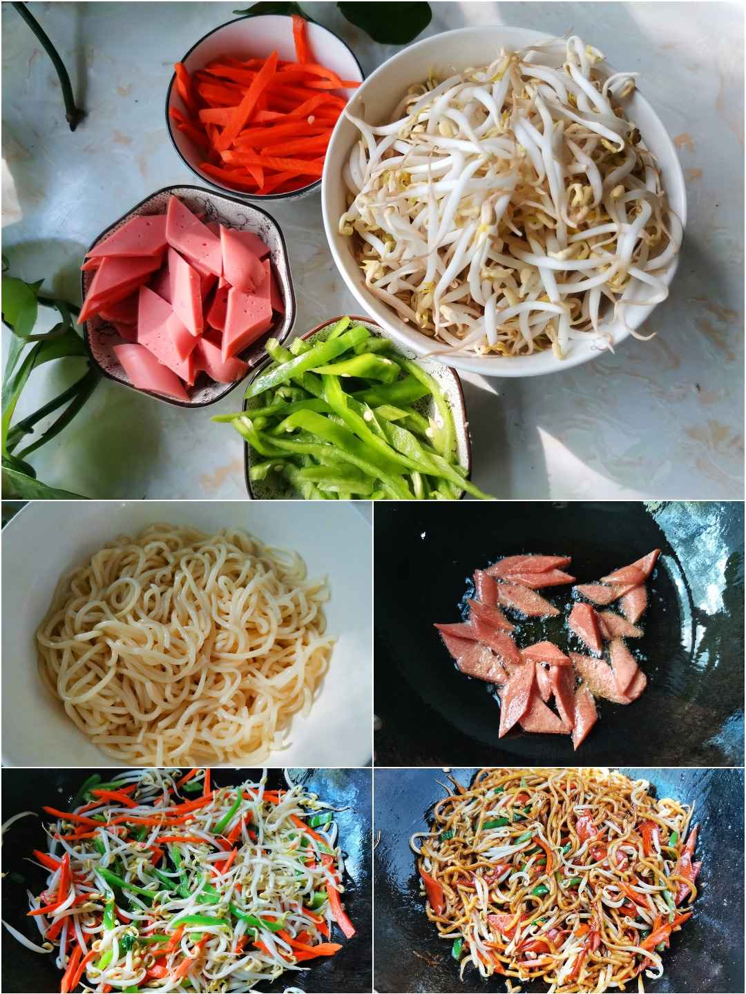 Stir-fried ham noodles with bean sprouts Chinese noodles recipes step