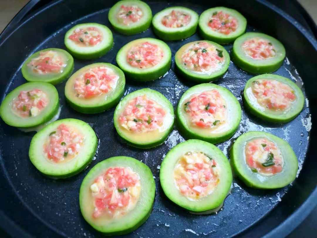 Zucchini slices stuffed with vegetable ham filling healthy breakfast for kids