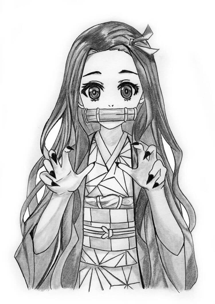 Cute Nezuko Drawing Easy