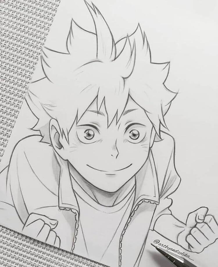 Haikyuu Anime Characters Shoyo Hinata Sketch