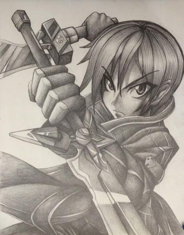 Kirito Anime Character Drawing